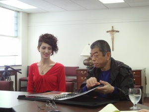 Tadashi reviewing my portfolio.